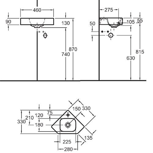 Sphinx serie 345 hoekfontein vijfhoekig 46 cm met kraangat for Badkamermeubel desco